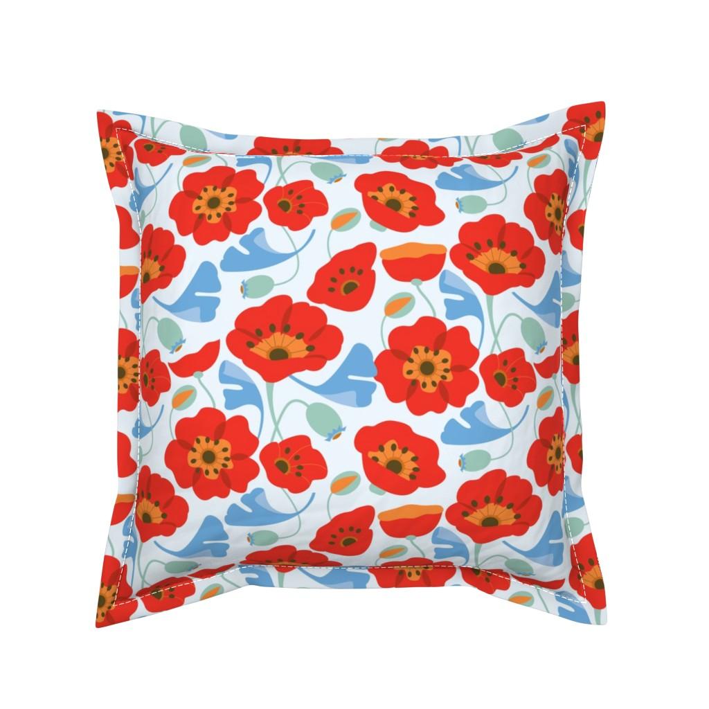 Serama Throw Pillow featuring Red Poppy Ginkgo, Large by cindylindgren