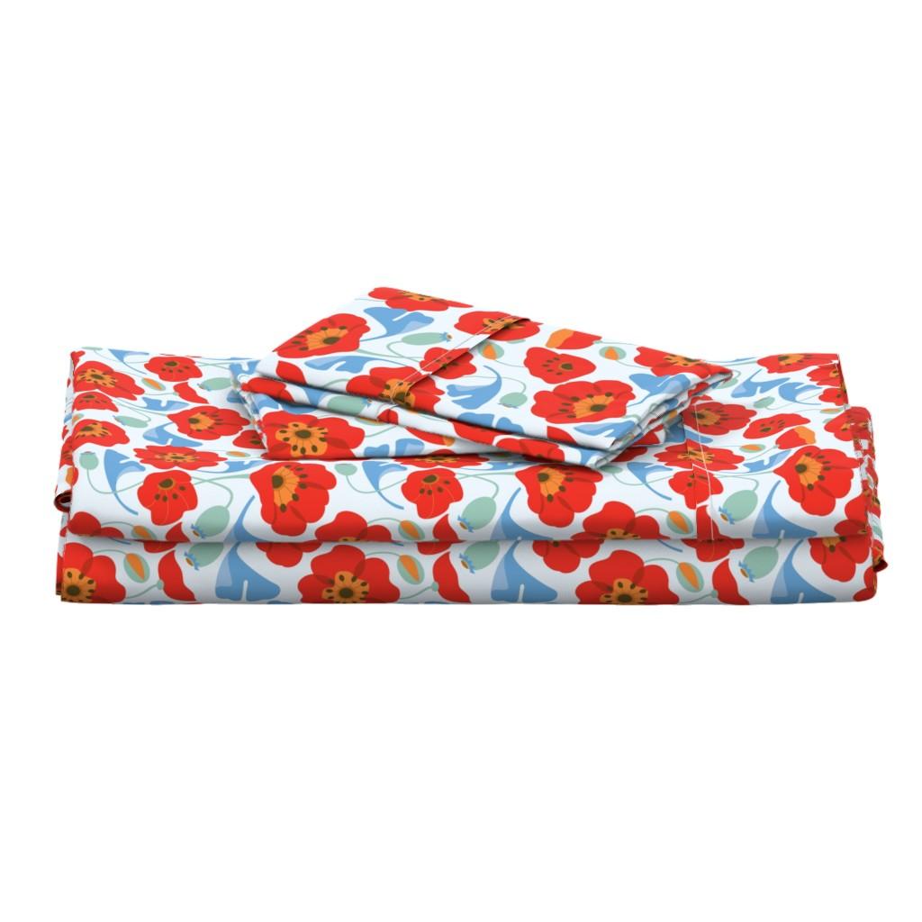 Langshan Full Bed Set featuring Red Poppy Ginkgo, Large by cindylindgren