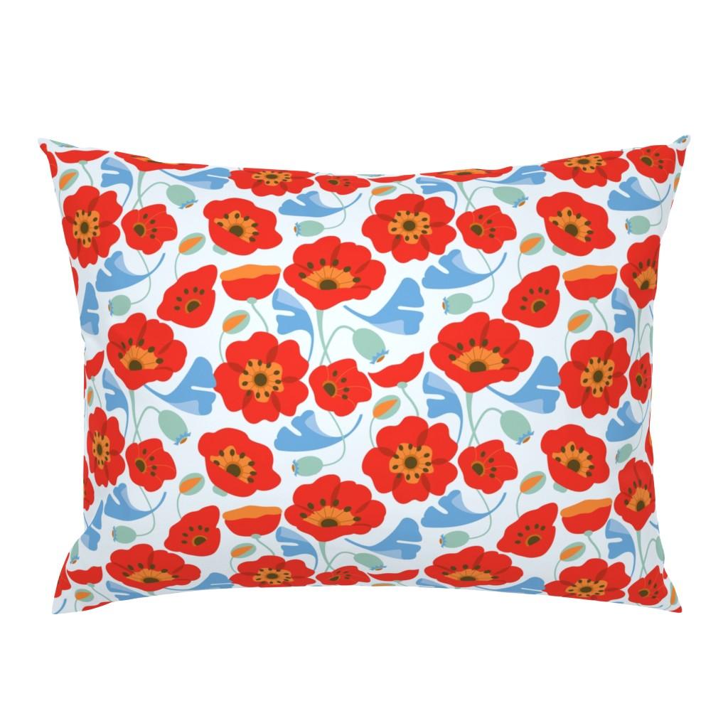 Campine Pillow Sham featuring Red Poppy Ginkgo, Large by cindylindgren