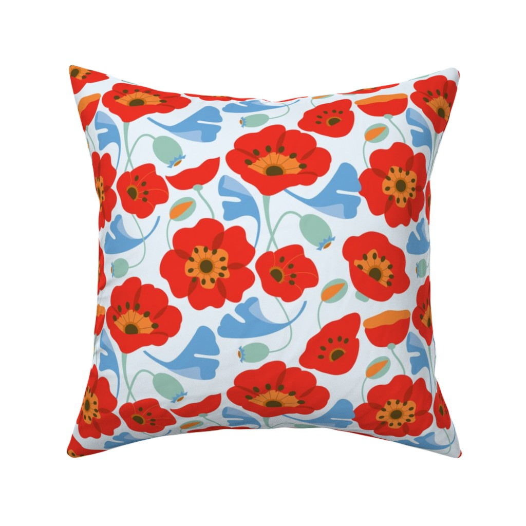Catalan Throw Pillow featuring Red Poppy Ginkgo, Large by cindylindgren