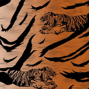 Tribal Tiger stripes print - faux fur orange large