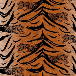Tribal Tiger stripes print - faux fur orange medium