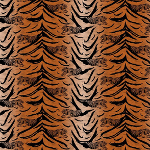 Tribal Tiger stripes print - faux fur orange small