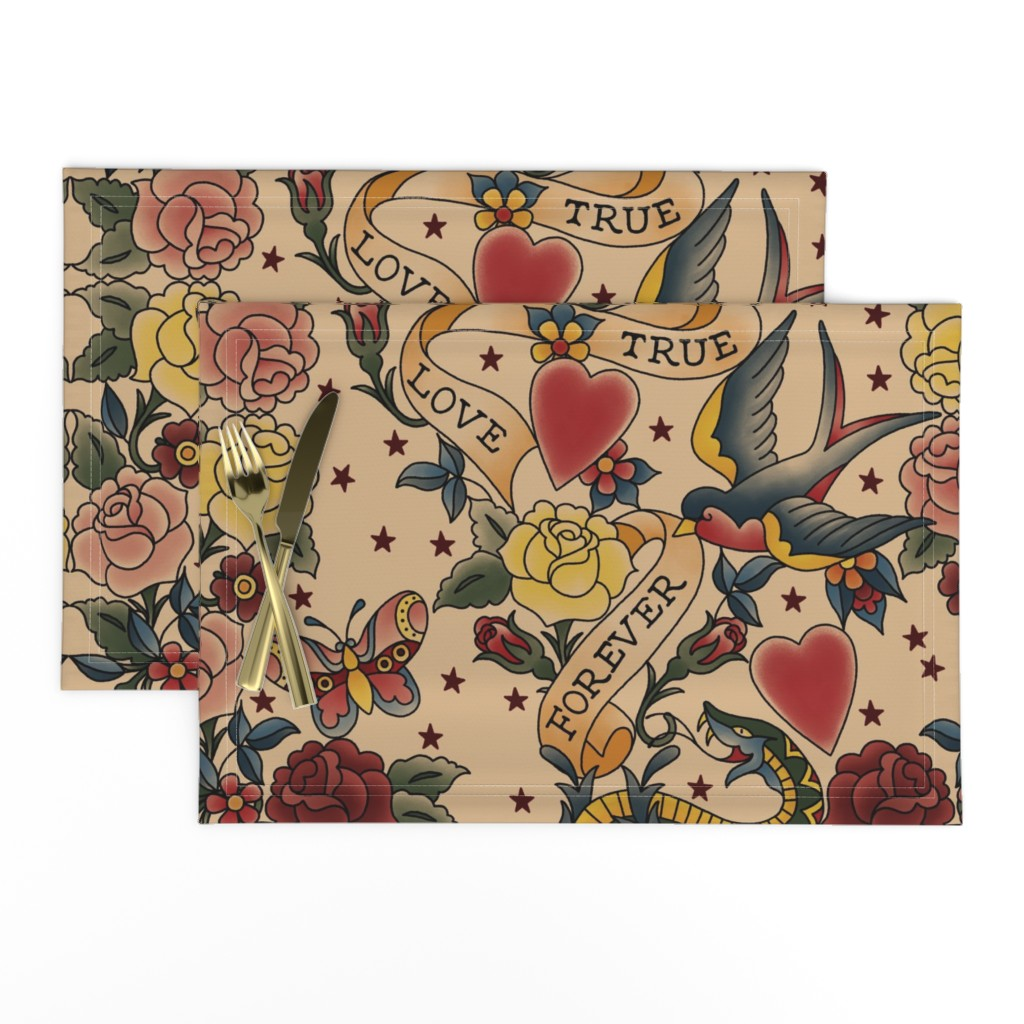 Lamona Cloth Placemats featuring Tattoo me Tattoo you  by stitchyrichie
