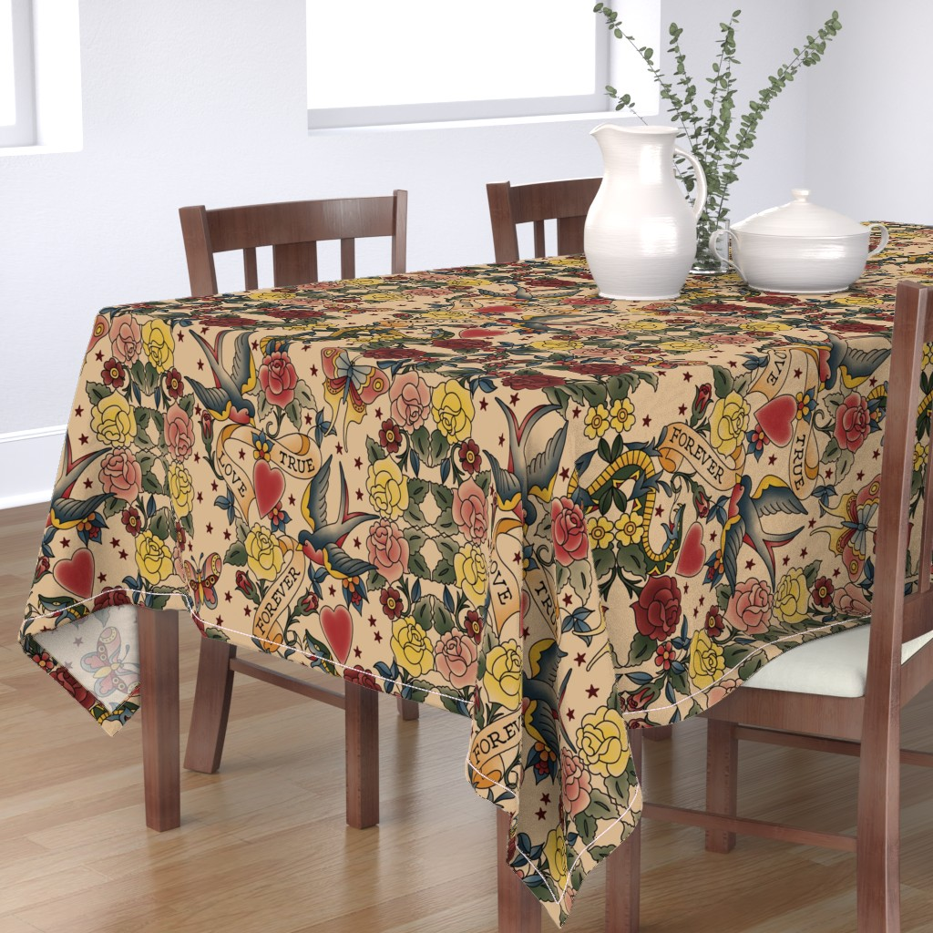Bantam Rectangular Tablecloth featuring Tattoo me Tattoo you  by stitchyrichie