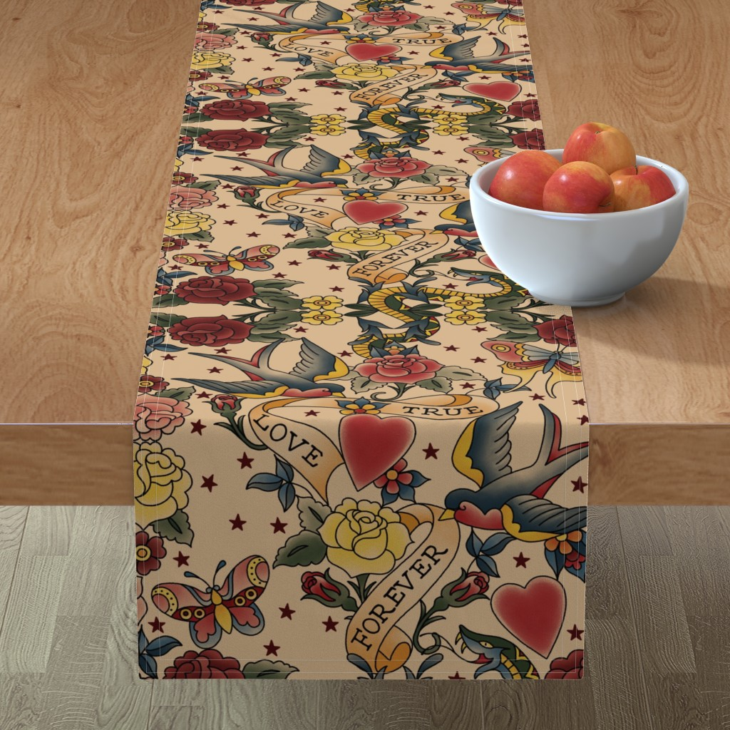 Minorca Table Runner featuring Tattoo me Tattoo you  by stitchyrichie