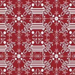 Red Spanish tile stars