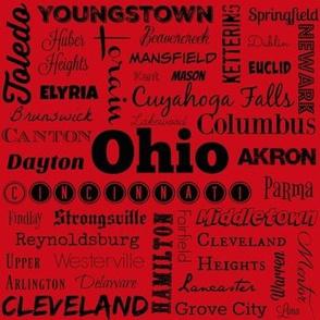 Ohio cities, red