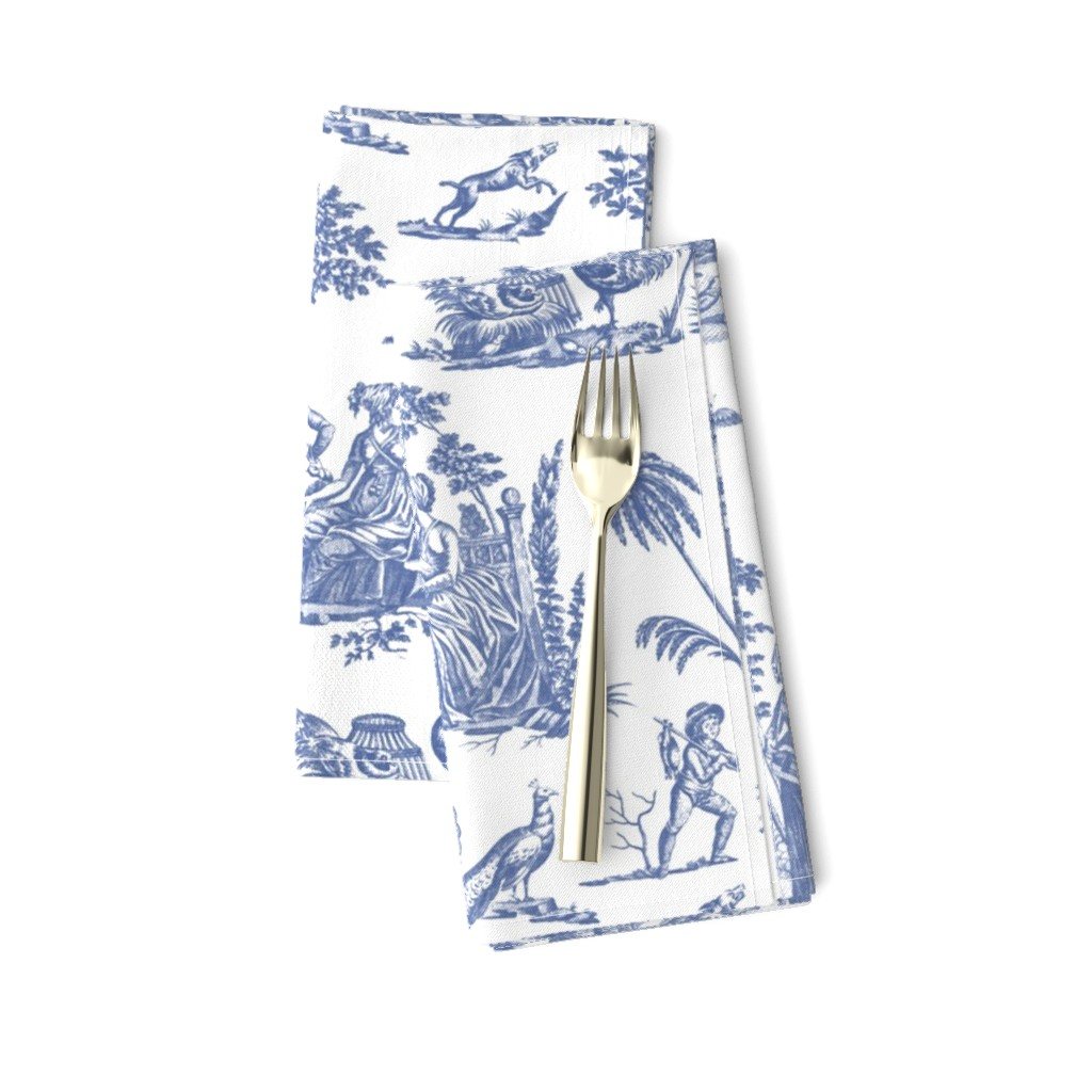 Amarela Dinner Napkins featuring Marseilles Toile ~   Willow Ware Blue and White    by peacoquettedesigns