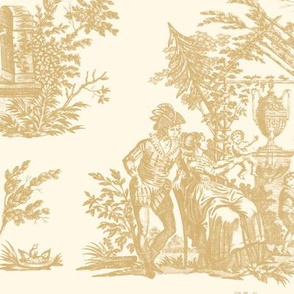 Marseilles Toile ~   Gilt on Cosmic Latte