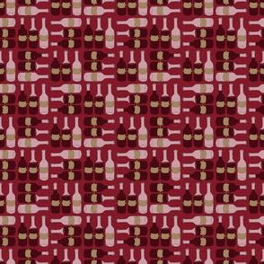 Wine Bottle Pattern on Red