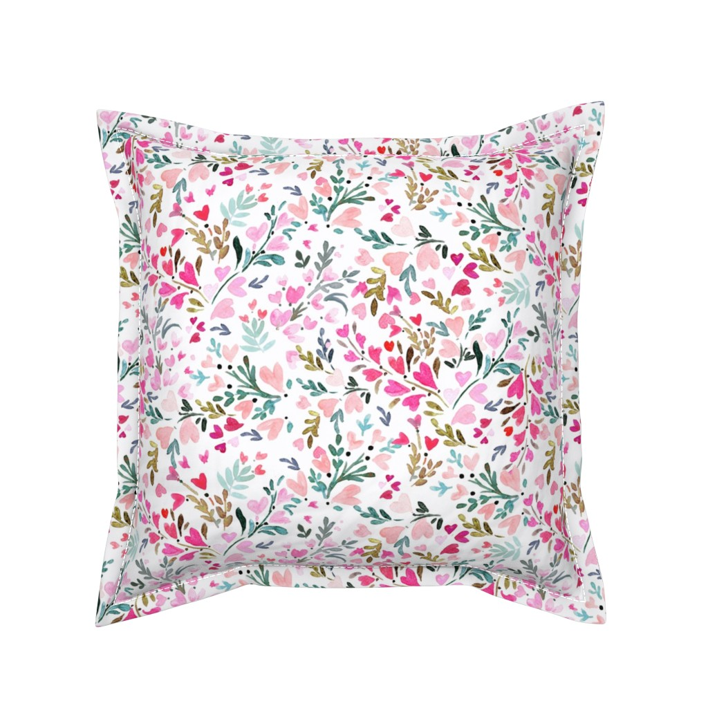 Serama Throw Pillow featuring Heart-floral / white by crystal_walen