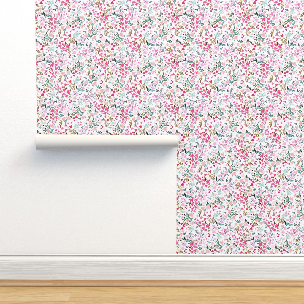 Isobar Durable Wallpaper featuring Heart-floral / white by crystal_walen