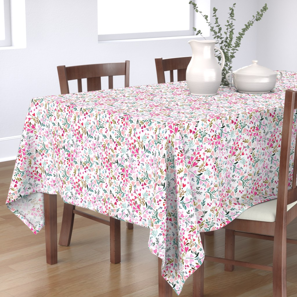 Bantam Rectangular Tablecloth featuring Heart-floral / white by crystal_walen
