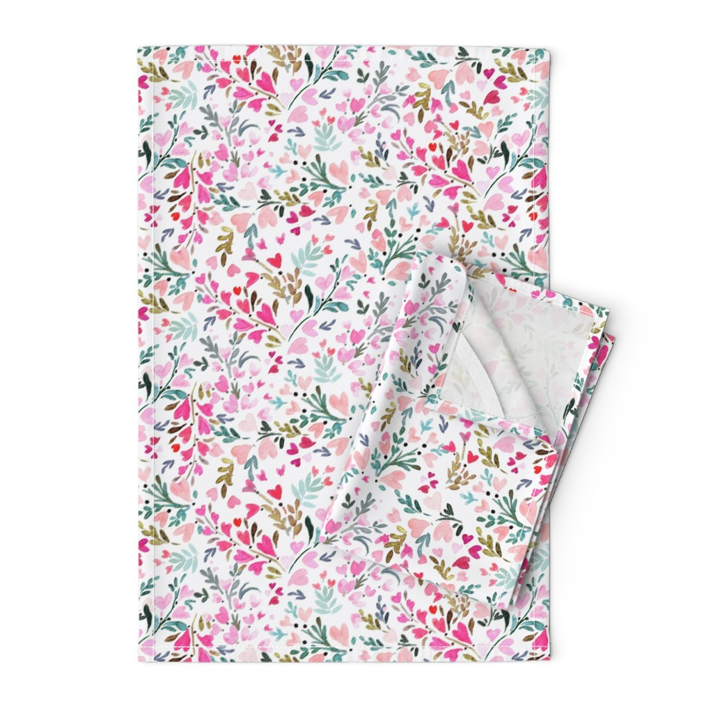 Orpington Tea Towels featuring Heart-floral / white by crystal_walen