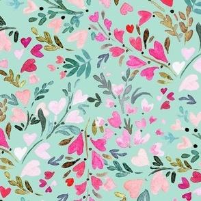 heart-floral / mint