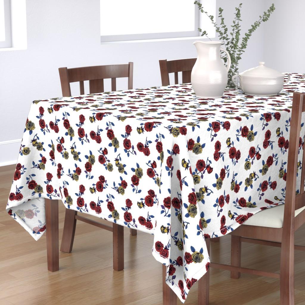 Bantam Rectangular Tablecloth featuring Roses by susanna_nousiainen