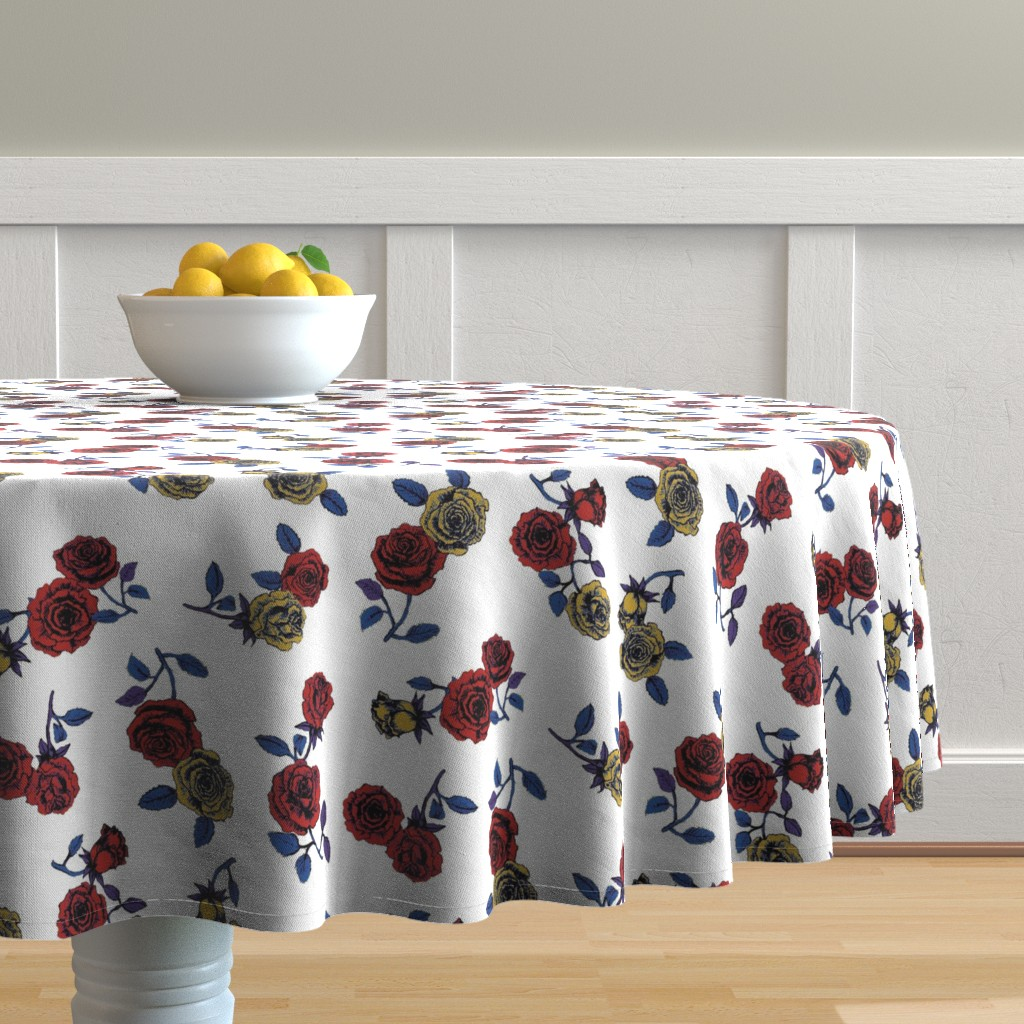 Malay Round Tablecloth featuring Roses by susanna_nousiainen