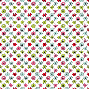 Germ Pattern in Pink Aqua and Mint