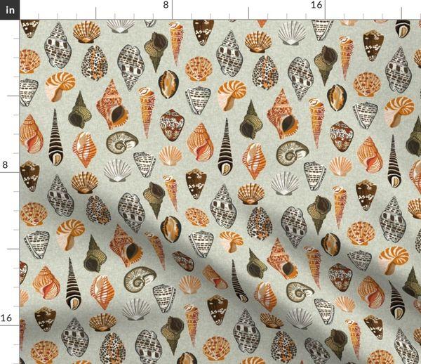 Fabric By The Yard Seashells Shell Shells Beach Summer Mint Ocean Water Sea Nautical Shell Neutral