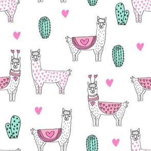 valentine llama // alpaca llamas valentines day fabric cute nursery kids love white pink