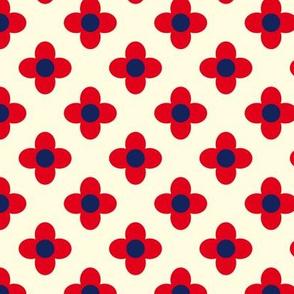 Retro Summerflower Red Offwhite XSmall
