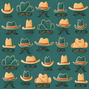 Hats + 'Staches // (Smaller Scale) Hand Drawn Wild West Cowboy & Cowgirl Disguises Sheriff Outlaw
