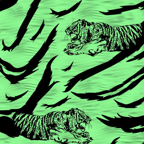 Tribal Tiger stripes print - jungle green large