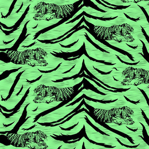 Tribal Tiger stripes print - jungle green medium