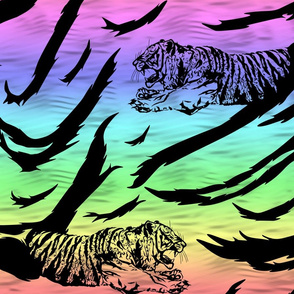 Tribal Tiger stripes print - neon rainbow large