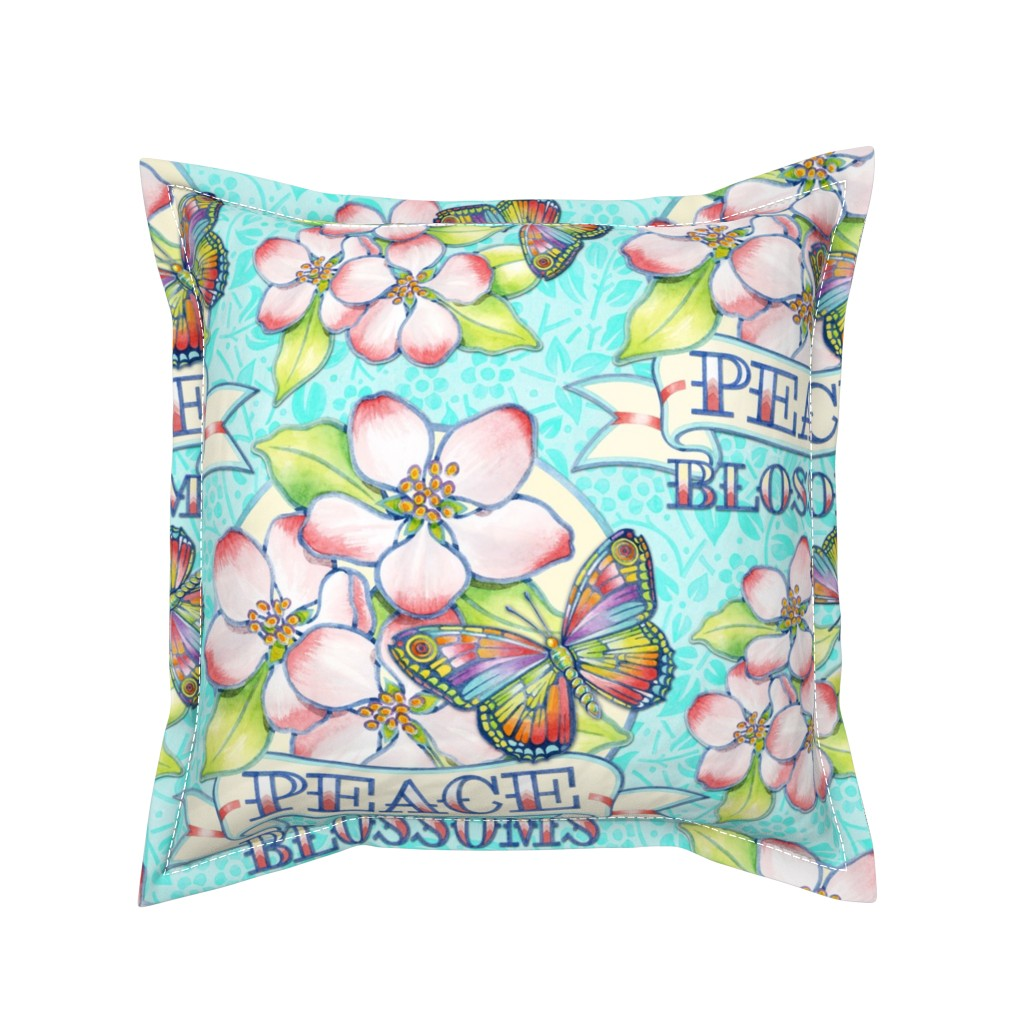 Serama Throw Pillow featuring Peace Blossoms Tattoo by patriciasheadesigns