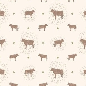 Farmhouse Cow Polka Dot + Doodle Print in Green // Sing for Your Supper // Modern Farmhouse Collection