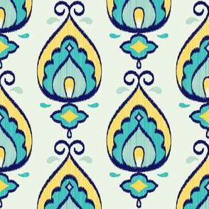 Teardrop Ikat (Teal - Vertical) // Hand Drawn Moroccan - inspired Middle Eastern Lantern Tile & Textile Art