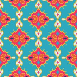 Geometric Ikat (Fuschia)  // Hand Drawn Moroccan - inspired Middle Eastern Lantern Tile & Textile Art