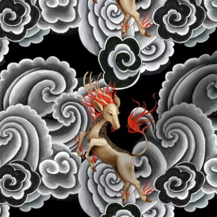 54ae75a533d Fabric by the Yard Kirin Japanese tattoo