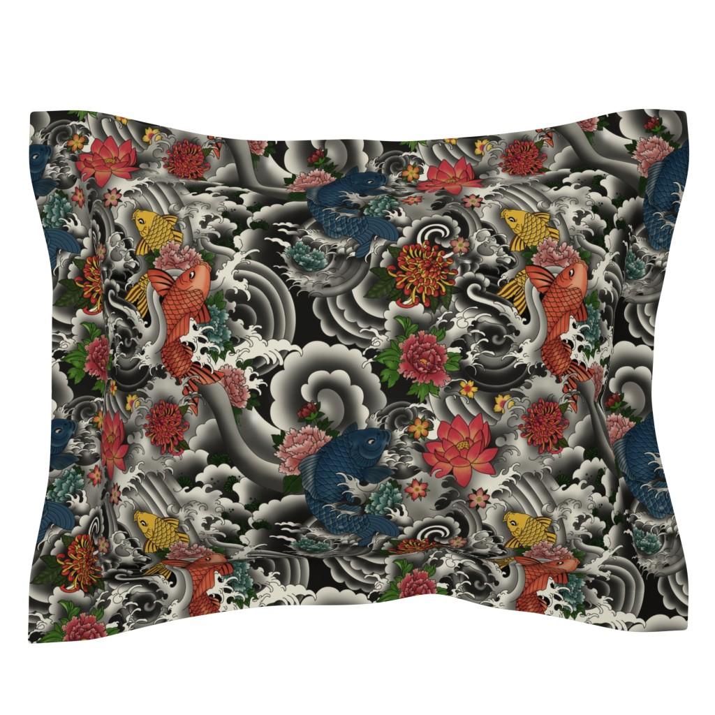 Sebright Pillow Sham featuring KOI FISH FROM JAPAN by geetanjali