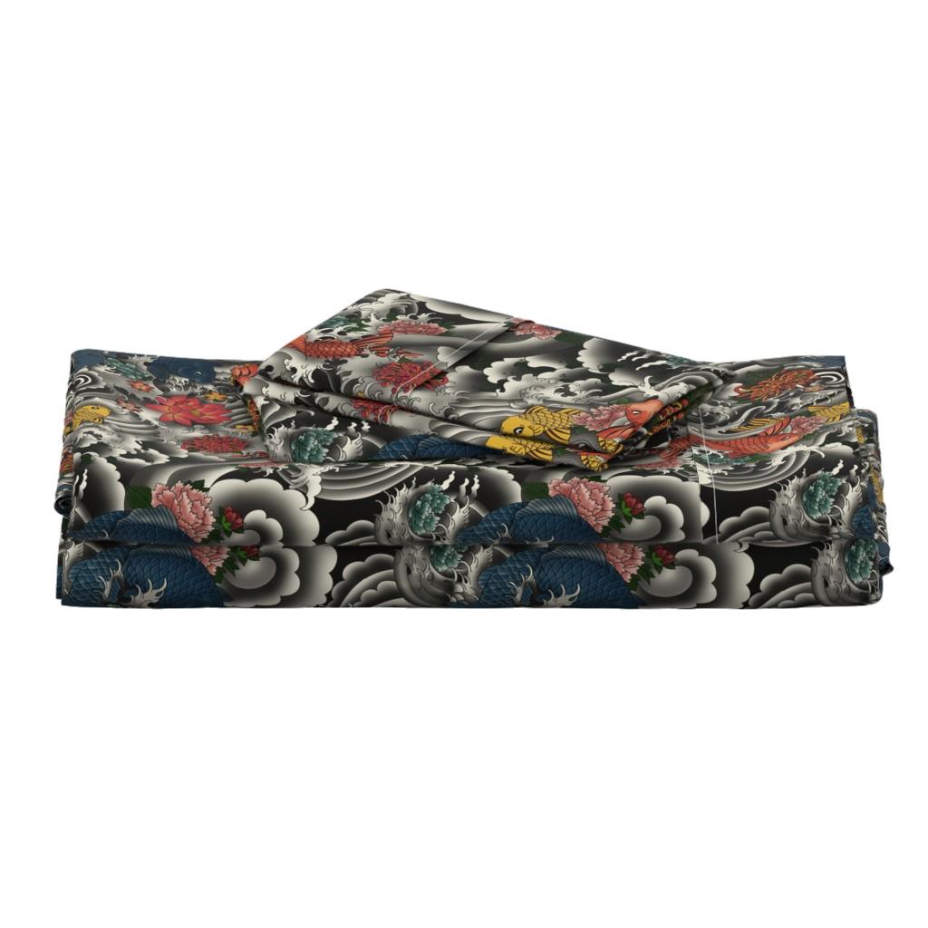 Langshan Full Bed Set featuring KOI FISH FROM JAPAN by geetanjali