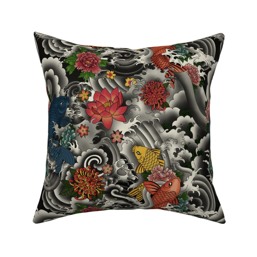 Catalan Throw Pillow featuring KOI FISH FROM JAPAN by geetanjali