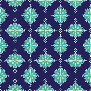 Diamond Ikat (Navy) // Hand Drawn Moroccan - inspired Middle Eastern Lantern Tile & Textile Art