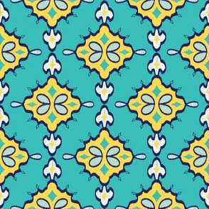 Geometric Ikat (Goldenrod)  // Hand Drawn Moroccan - inspired Middle Eastern Lantern Tile & Textile Art