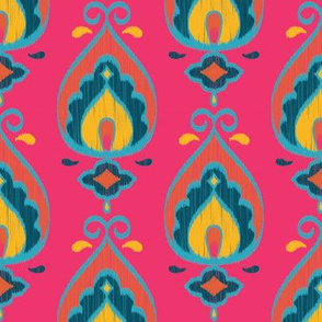 Teardrop Ikat (Fuschia - Vertical) // Hand Drawn Moroccan - inspired Middle Eastern Lantern Tile & Textile Art