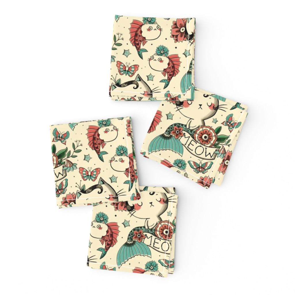 Frizzle Cocktail Napkins featuring Born to Meow by monika_suska