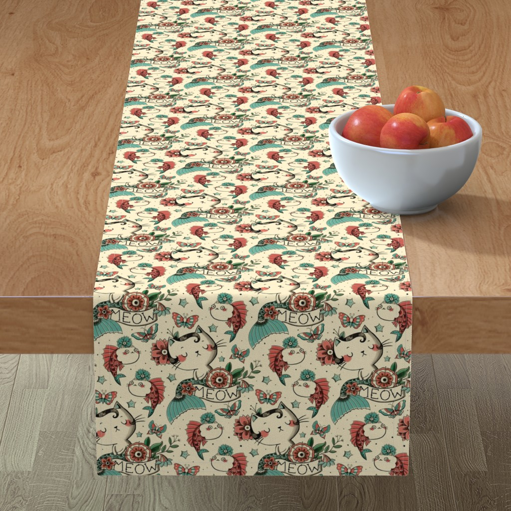 Minorca Table Runner featuring Born to Meow by monika_suska