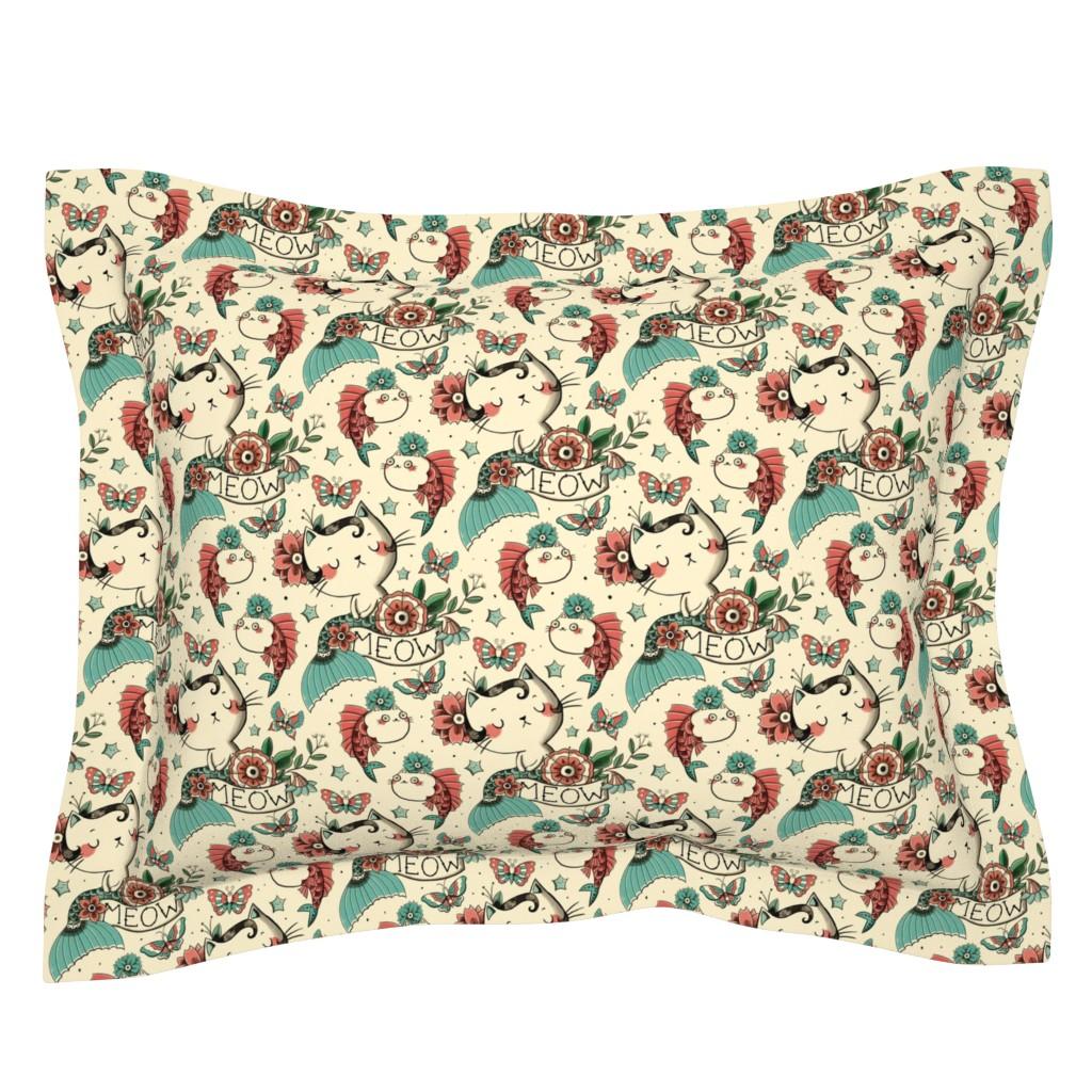 Sebright Pillow Sham featuring Born to Meow by monika_suska