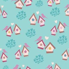Birdhouse Love - Little Birdies + Hearts Aqua