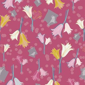 Tulips + Birdies in Houses - Hand Drawn Hyacinth Polka Dots