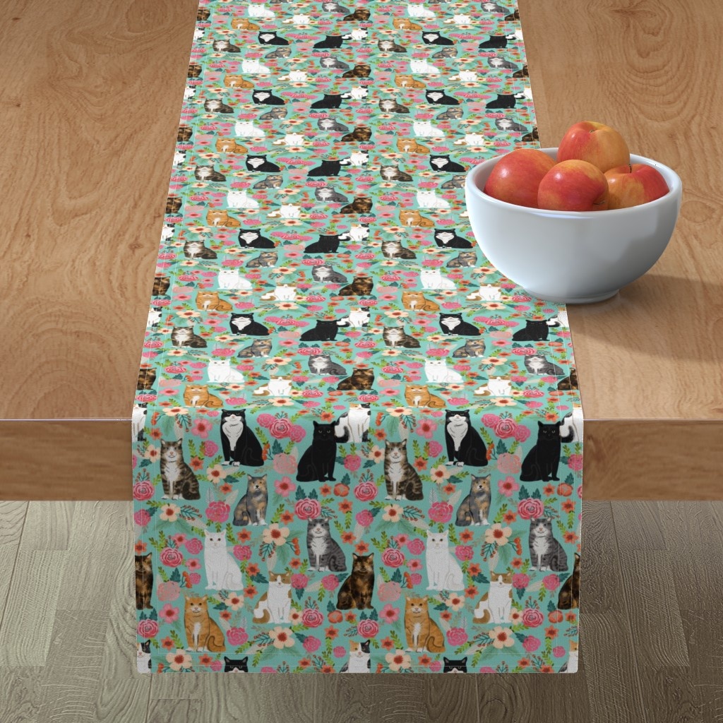 Minorca Table Runner featuring cat florals mixed breeds pet fabrics  mint by petfriendly