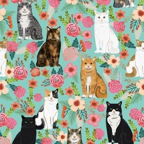 cat florals mixed breeds pet fabrics  mint