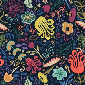 Navy Vintage Floral Larger Scale // Hand Drawn Funky Flowers Bright & Cheery