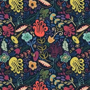 Navy Vintage Floral Smaller Scale // Hand Drawn Funky Flowers Bright & Cheery